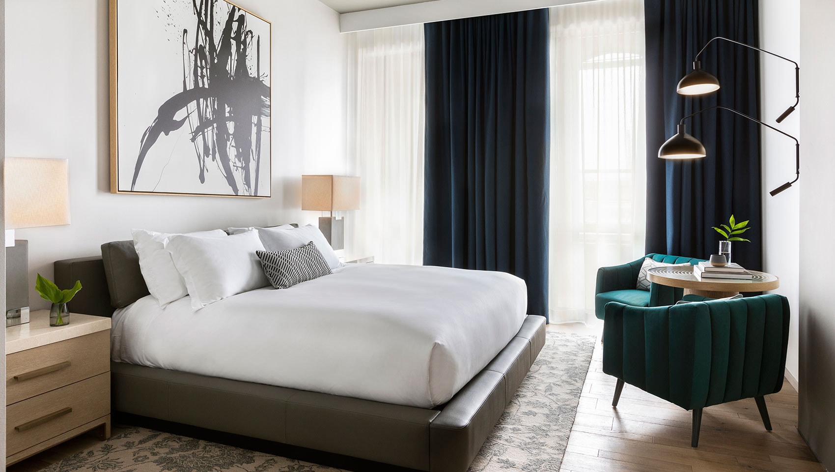 The Kimpton Pittman Hotel's bright and airy  king guestroom