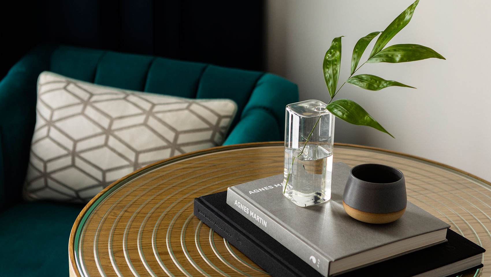 pittman side table with greenery