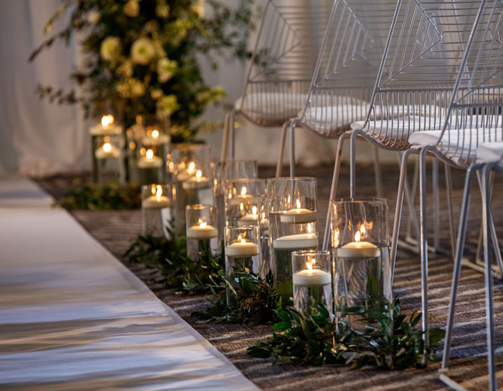 wedding aisle with candles
